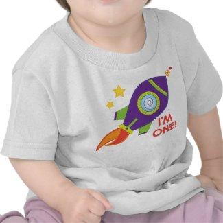 I'm One Rocketship Birthday Baby Tee Shirt shirt