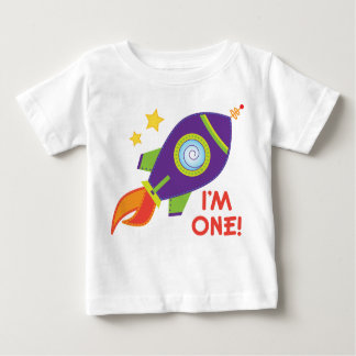 I'm One Rocketship Birthday Baby Tee Shirt