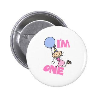 I'm One Stick Figure Girl Birthday Pinback Button