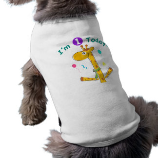 I'm One Today - Giraffe Design Pet Tshirt