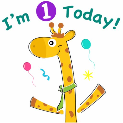 I'm One Today - Giraffe Design Photo Cut Out