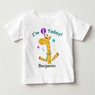 I'm One Today - Giraffe Design Shirt