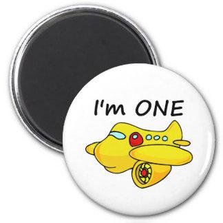I'm One, Yellow Plane 2 Inch Round Magnet