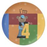 Im oso de 4 cumpleaños plato para fiesta