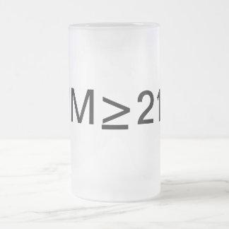 I'm over 21 frosted glass beer mug