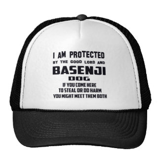 I'm protected by good lord and Basenji dog Trucker Hat