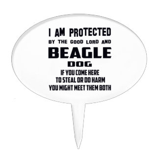 I'm protected by good lord and Beagle dog Cake Picks