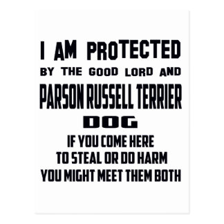 I'm protected by good lord and Parson Russell Terr Postcard