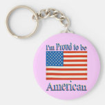 Im Proud to Be American Basic Round Button Keychain