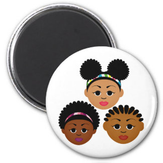 """I'm Proud to Be Natural Me"" Collection 2 Inch Round Magnet"