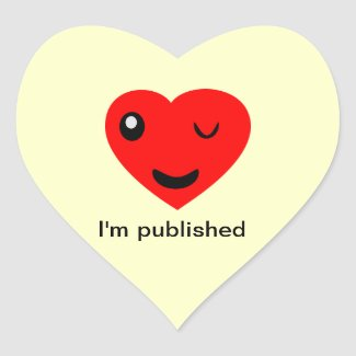 I'm published heart sticker