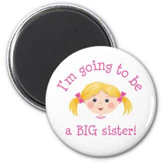 Im que va a ser una hermana grande - pelo rubio imán redondo 5 cm