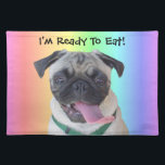 """I&#39;m Ready To Eat! Funny Pug American MoJo Placemat<br><div class=""""desc"""">Adorable picture of a little pug with her long tongue sticking out. Customize the placemat any way you want!</div>"""