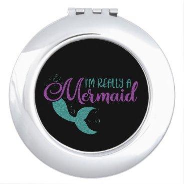 Beach Themed I'm really a Mermaid Purple Teal Glitter Texture Compact Mirror