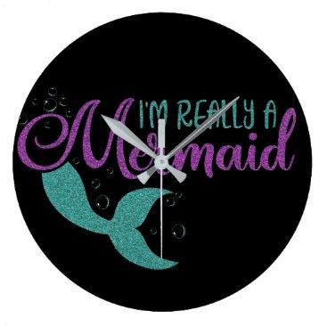 Beach Themed I'm really a Mermaid Purple Teal Glitter Texture Large Clock