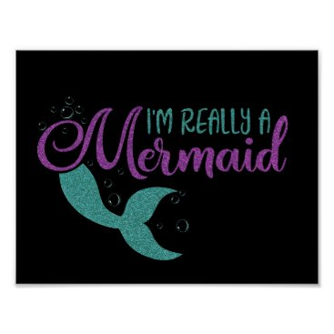 Beach Themed I'm really a Mermaid Purple Teal Glitter Texture Poster