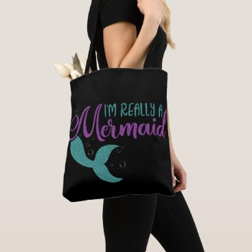 Beach Themed I'm really a Mermaid Purple Teal Glitter Texture Tote Bag