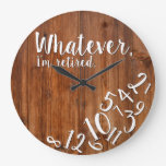 I'm Retired Rustic Wood Funny Retirement Brown Large Clock