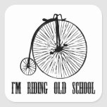 I'm Riding Old School Square Stickers