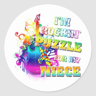 I'm Rockin' A Puzzle for my Niece.png Classic Round Sticker