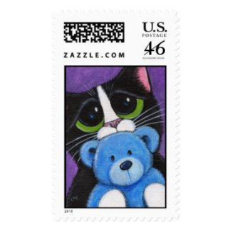 I'm Scared - Cat and Teddy Postage stamp