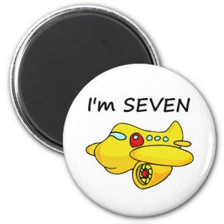 I'm Seven, Yellow Plane 2 Inch Round Magnet