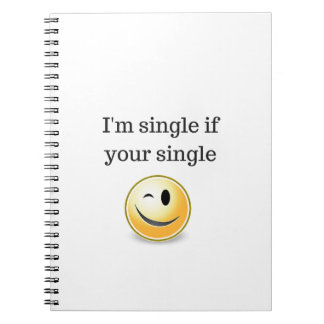 Im single if your single - funny flirting wink spiral notebook