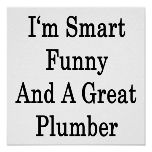I'm Smart Funny And A Great Plumber Poster