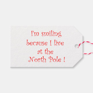 I'm smiling because I live at the North Pole Gift Tags