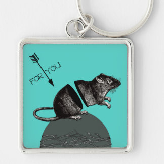 I'm snarky, but I actually do give a rat's a**. Silver-Colored Square Keychain