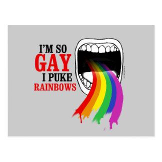 I'm so gay, I puke Rainbows Postcard