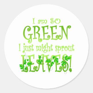 I'm so green classic round sticker