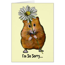I'm So Sorry, Cute Hamster with Big Daisy, Apology Card