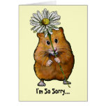I'm So Sorry, Cute Hamster with Big Daisy, Apology Greeting Card