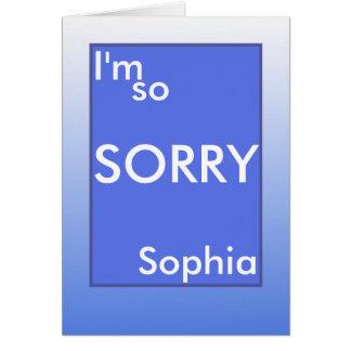 I'm so sorry white text on blue frame (name) card