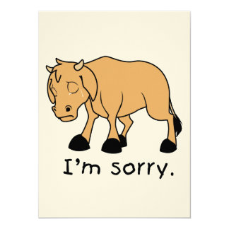 """I'm Sorry Brown Crying Sad Weeping Calf Card Stamp 5.5"""" X 7.5"""" Invitation Card"""