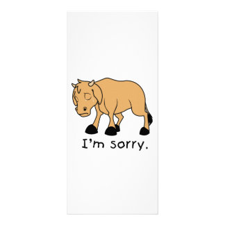 I'm Sorry Brown Crying Sad Weeping Calf Card Stamp Custom Rack Card