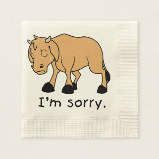 I'm Sorry Brown Crying Sad Weeping Calf Magnet Disposable Napkins