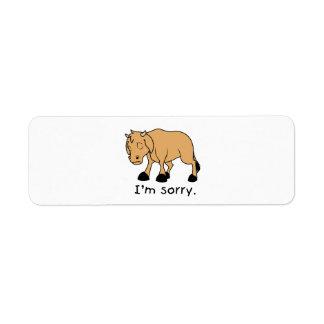 I'm Sorry Brown Crying Sad Weeping Calf Mug Watch Label