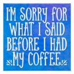 I'm Sorry For What I Said LOL Funny Quote Poster