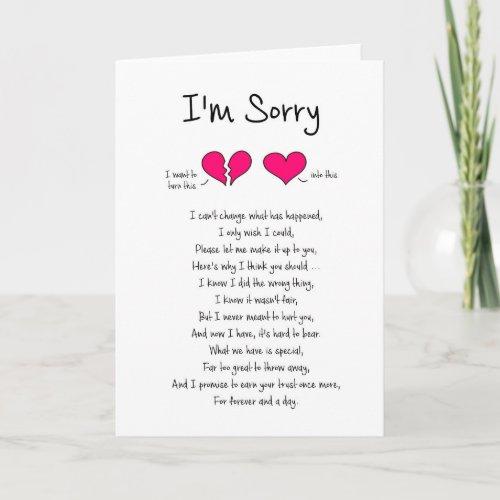 Im Sorry  Forgive Me Card