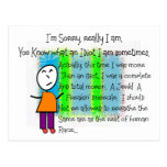 """""""I'm Sorry"""" Hilarious greeting card Postcards"""