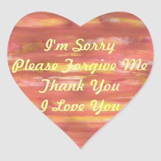 I'm Sorry Please Forgive Me Thank You I Love You Heart Sticker