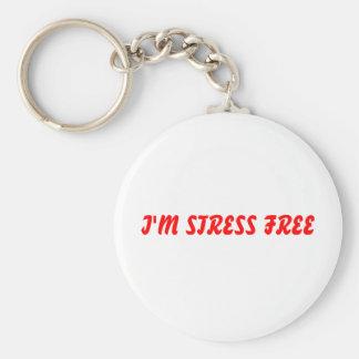 I'M STRESS FREE BASIC ROUND BUTTON KEYCHAIN