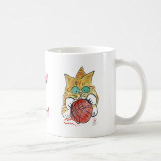 I'm stuck ion the yarn meows the kitten coffee mug