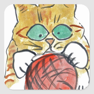 I'm Stuck on the Yarn Meows Kitten Square Sticker