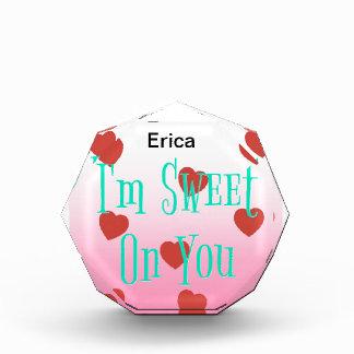 I'm Sweet On You   Custom Valentine's Day Hearts Acrylic Award