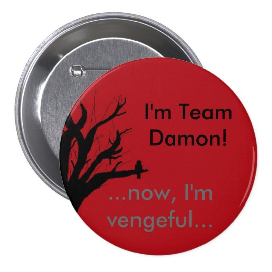 I'm Team Damon Vengeful Crow Pinback Button
