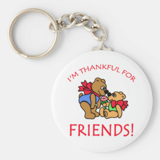 I'm Thankful for Friends Thanksgiving Apparel Basic Round Button Keychain