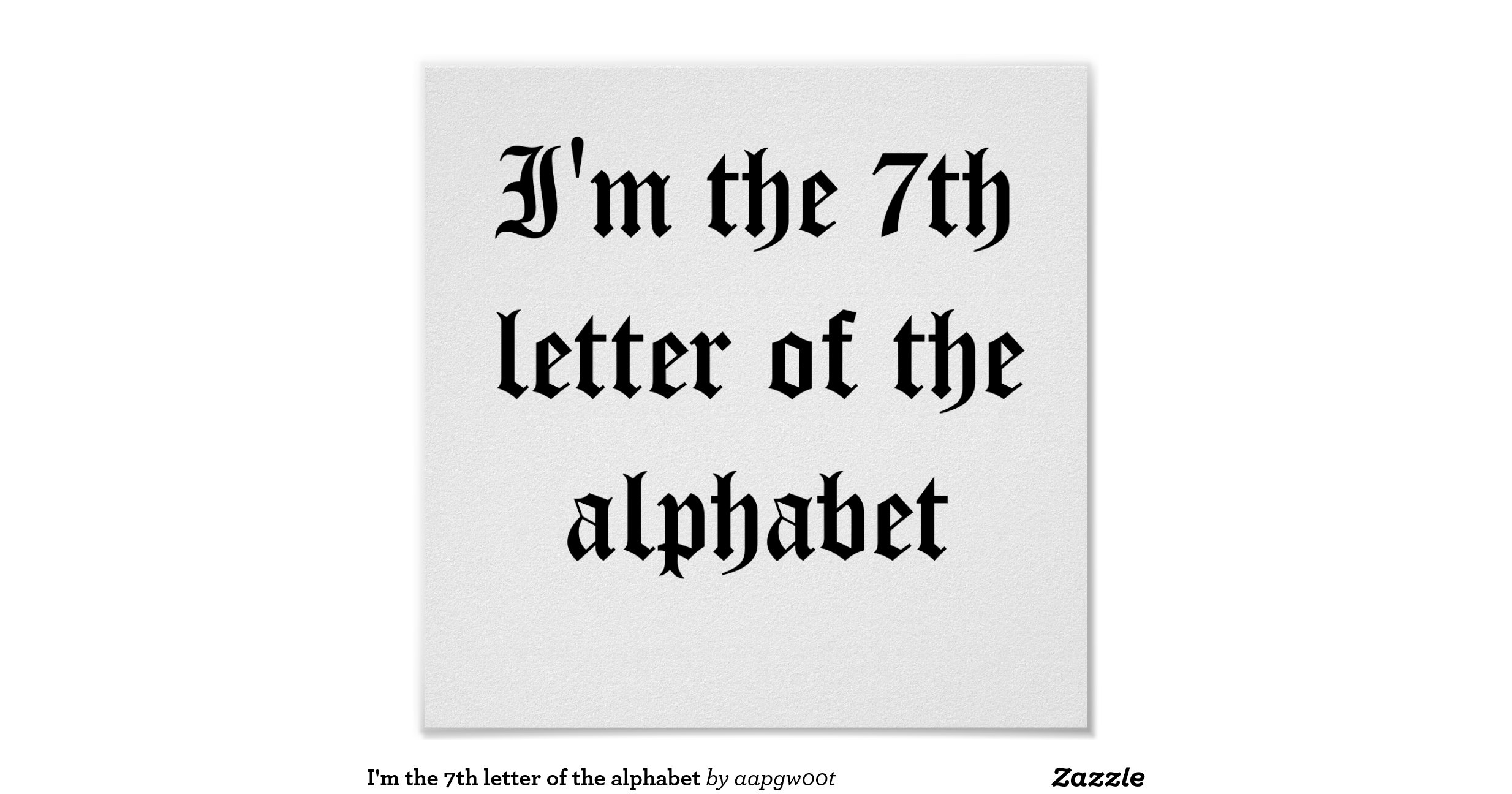 What Is The Seventh Letter Of The Alphabet